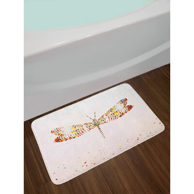 Majestic Dragonfly Shape with Colorful Tiny Little Dot Effects Imaginary Non-Slip Plush Bath Rug