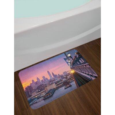 American Philadelphia Under a Hazy Sunset Train on Vibrant Bridge Skyscrapers Landscape Non-Slip Plush Bath Rug