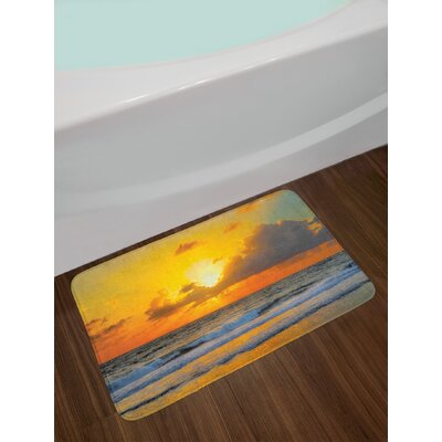 Ocean Morning at the Beach in Brazil the Sun Rays Through The Clouds over Sea Sunset Image Non-Slip Plush Bath Rug