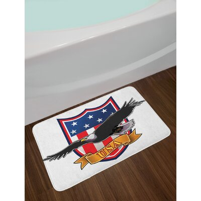 American Flying Eagle with USA Flag Armor Design Shape Liberty Wings in Sky Illustration Non-Slip Plush Bath Rug