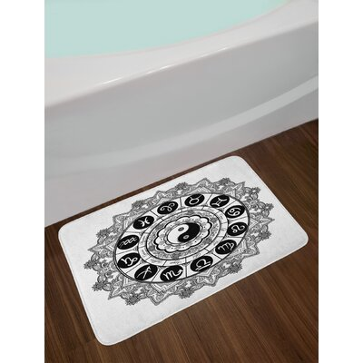 Round Zodiac Theme Design with Ying Yang Symbol in Centre Astrology Signs Print Non-Slip Plush Bath Rug