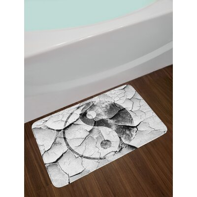 Grunge Cracked Ying Yang Sign on the Wall Graphic Art Union Asian Zen Design Non-Slip Plush Bath Rug