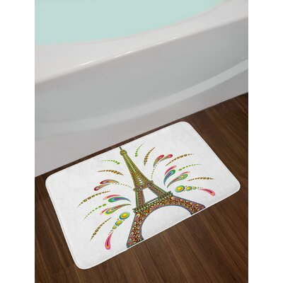 Psychedelic France Eiffel Tower Abstract Fireworks Design with Patterns Art Non-Slip Plush Bath Rug