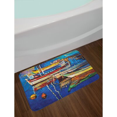 Country Paint of Boats on Shore at Sunset Cruising by the Sea Print Non-Slip Plush Bath Rug