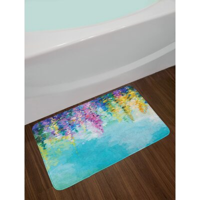 Flower Abstract Ivy Romantic and Inspiring Landscape Spring Floral Artwork Nature Theme Non-Slip Plush Bath Rug