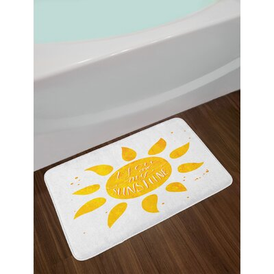 Quote Sunshine Stylized Lettering with Grungy Effects Featured Better Half Abstract Artistic Non-Slip Plush Bath Rug