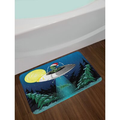 Outer Space Alien with Santa Claus Hat Kidnaps a Tree for Christmas Night Airship Print Non-Slip Plush Bath Rug
