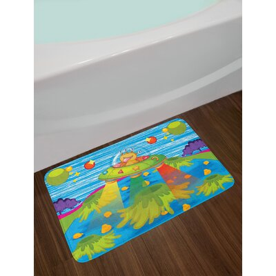 Outer Space for Kids Scary Monster in UFO on Planet Solar System Galaxy Funky Background Non-Slip Plush Bath Rug