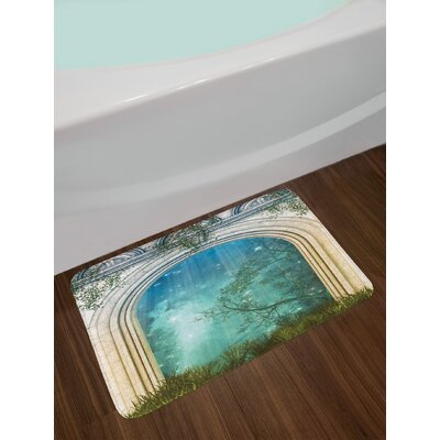 Mystic Magic Ancient Curved Door in the Forest Mysterious Surreal Nature World Print Non-Slip Plush Bath Rug