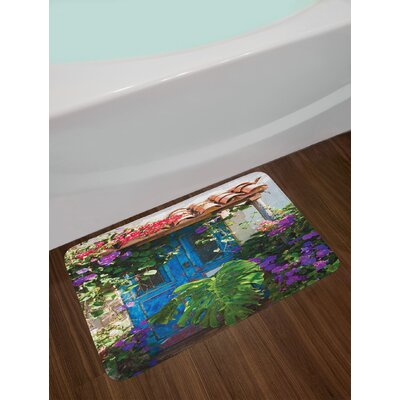 Charm of Old Door with Overgrown Exotic Flower Petals and Palm Leaves Scene Artwork Print Non-Slip Plush Bath Rug