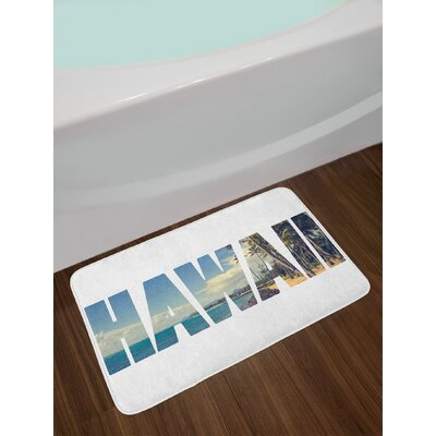 Hawaiian Word with Tropical Island Photo Exotic Popular Places Palm Forest by Ocean Non-Slip Plush Bath Rug