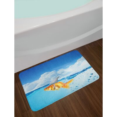 Shark Cute Goldfish with Shark Fin on Top of the Water Fake Comical Humorous Nature Image Non-Slip Plush Bath Rug