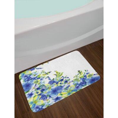 Watercolor Flower Motley Floret Motifs with Splash Anemone Iris Revival of Nature Theme Non-Slip Plush Bath Rug