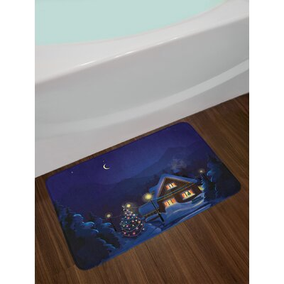 Christmas Winter Scenery with Designed House and Tree at Night Family Themed Concept Art Non-Slip Plush Bath Rug