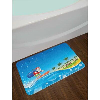 Christmas Surfing Santa on a Wave with Sack at the Beach Tropical Night Fantasy Cartoon Non-Slip Plush Bath Rug