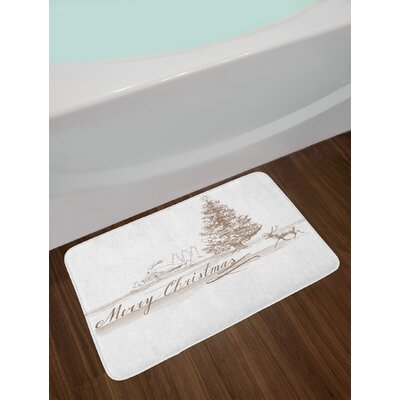 Christmas Romantic New Year Scenery with Reindeer Tree and Star Religious Design Image Non-Slip Plush Bath Rug