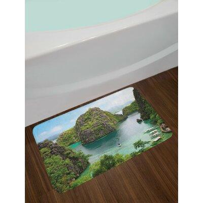 Island Landscape of Majestic Cliff in Philippines Wild Hot Nature Resort Off Picture Non-Slip Plush Bath Rug
