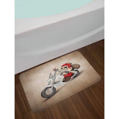 Christmas Rock Grunge Santa with Heart Tattoo on Motorbike Delivery Bikie Peace Theme Non-Slip Plush Bath Rug