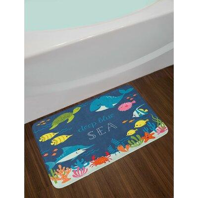 Cartoon Artsy Underwater Graphic with Algaes Reefs Turtles Sword Fishes the Life Aquatic Non-Slip Plush Bath Rug