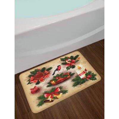 Christmas Classical Religious Candle Bell Mistletoe Ribbon Bird Art Print Non-Slip Plush Bath Rug
