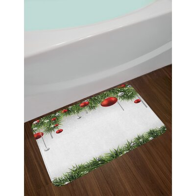 Classical Christmas Ornaments and Baubles Coniferous Pine Tree Twig Tinsel Print Non-Slip Plush Bath Rug