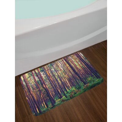 Forest in the Morning Tall Trees Trunks Greenery Natural Environment Picture Print Non-Slip Plush Bath Rug