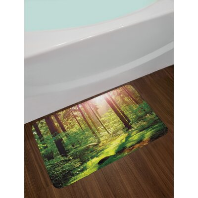 Forest in Spring Time Sunset Moss Woods Leaf Wilderness Fantasy Magical View Print Non-Slip Plush Bath Rug
