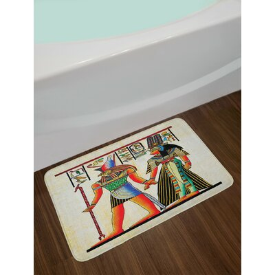 Egyptian Papyrus with Ancient Historical Characters Elements Temple Old Culture Art Non-Slip Plush Bath Rug