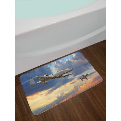 Airplane Peacekeepers Mission Jet up International Military Force Combat Flight Picture Non-Slip Plush Bath Rug