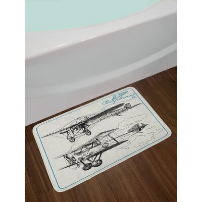 Airplane Nostalgic Planes Aircraft Propeller in the Sky Fast Travel Wings Sketch Non-Slip Plush Bath Rug