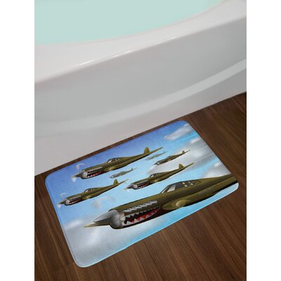 Airplane Fighter Aircrafts up in Air Combat Fight Battle Machinery Wings Illustration Non-Slip Plush Bath Rug