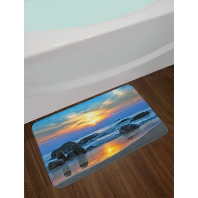 Sunset Scenery in Sandy Beach with Rocks and Waves Lonely Peace Morning Dream Earth Non-Slip Plush Bath Rug