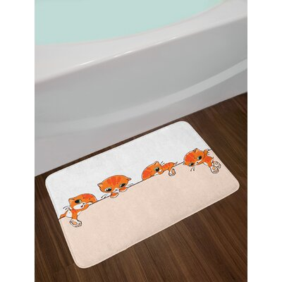 Cat Banner with Little Kitties Felines over Jumping the Walls Free Artful Design Non-Slip Plush Bath Rug