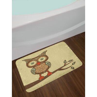 Owl Cute Sitting on Branch Eyesight Animal Humor Pastel Graphic Non-Slip Plush Bath Rug