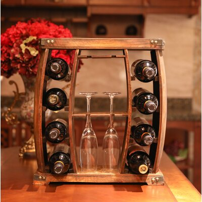 Gullion Rustic Wooden 8 Bottle Floor Wine Rack