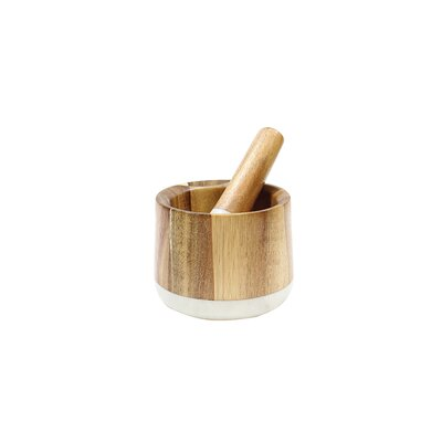 Elements 2 Piece Marble/Acacia Mortar and Pestle Set