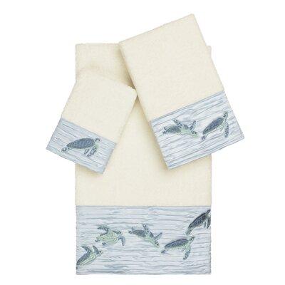 Swick Embellished 3 Piece Turkish Cotton Towel Set Color: Cream