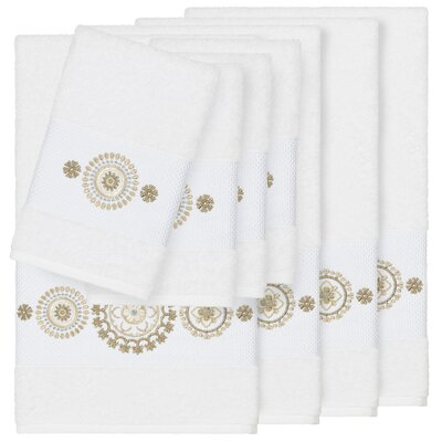 Roeder Embellished 8 Piece Turkish Cotton Towel Set Color: White