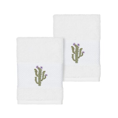Hoeft Embellished Turkish Cotton Washcloth Color: White