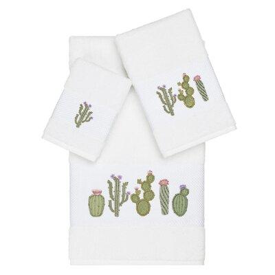 Hoeft Embellished 3 Piece Turkish Cotton Towel Set Color: White