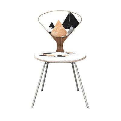 Farah Upholstered Dining Chair Leg Color: Chrome, Frame Color: Walnut