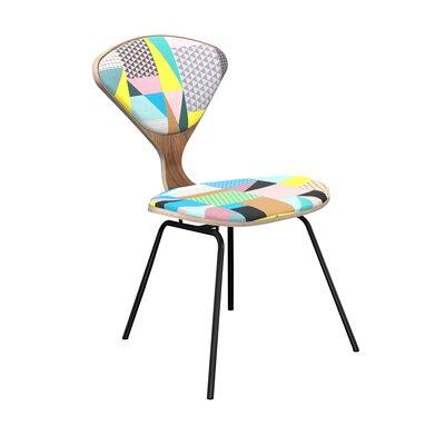 Elara Upholstered Dining Chair Leg Color: Black, Frame Color: Walnut