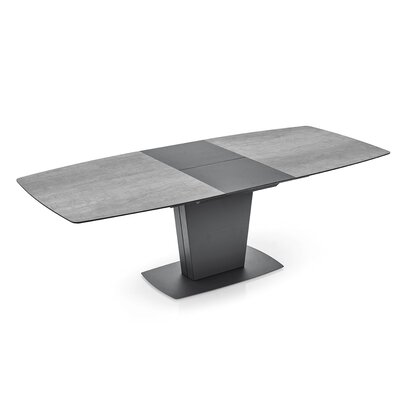 """Harland Dining Table Table Base Color: Matte Black, Table Top Color: Stone Gray Ceramic , Size: 59"""""""
