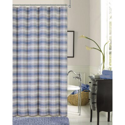 Rieves Stripe Fabric Shower Curtain Color: Blue