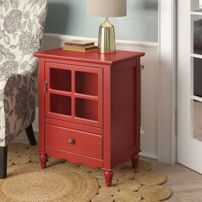 Couronne 1 Drawer Accent Cabinet Color: Red