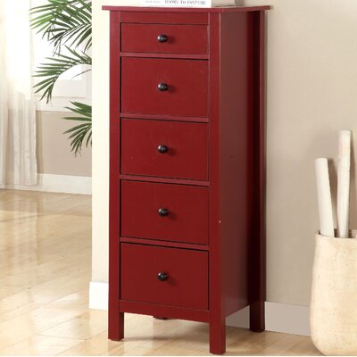 Du Bois 5 Drawer Chest Color: Red
