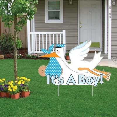 """""""It's a Boy!"""" Stork Baby Announcement Yard Sign Color: Medium Skin Tone Baby"""