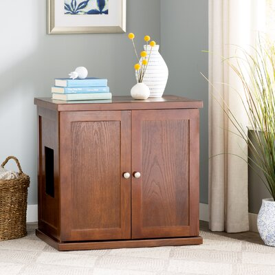 Clementine Wooden Litter Box Cabinet Finish: Mahogany, Size: Large
