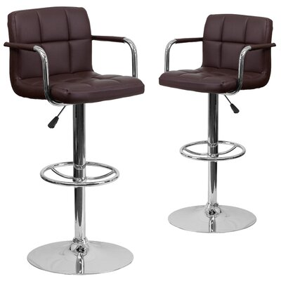 Milam Adjustable Height Swivel Bar Stool Upholstery: Brown