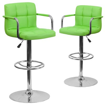 Milam Adjustable Height Swivel Bar Stool Upholstery: Green